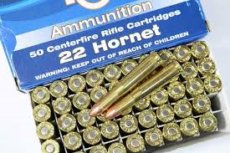 cartouche calibre .22 HORNET, 45 grains soft point, marque PPU