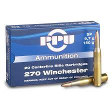 cartouche calibre 270 Winchester, Soft point 150 grains, marque PPU