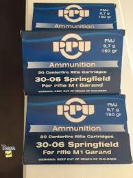 cartouche calibre 30-06 Springfield, FMJ, marque PPU