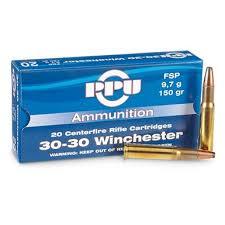 cartouche calibre 30-30 Winchester, soft point, marque PPU
