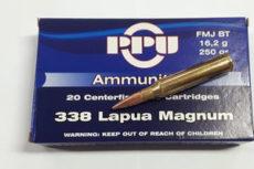 Cartouche calibre .338 Lapua Magnum, 250 grains FMJ BT, marque PPU