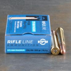 Cartouche calibre .375 Holland and Holland Magnum, 300 grains FMJ RN, marque PPU