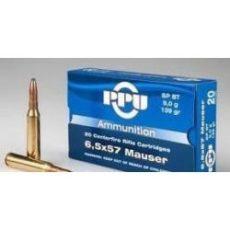 cartouche calibre 6,5x57 Mauser, 139 grains Soft Point BT, marque PPU