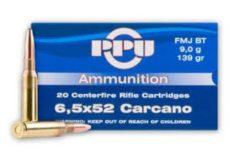 cartouche calibre 6,5x52 Carcano, 139 grains FMJ BT, marque PPU