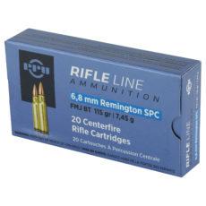 Cartouche calibre 6,8 Remington SPC, ogive 115 grains FMJ BT, marque PPU
