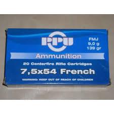 cartouche calibre 7,5x54 français MAS, FMJ, marque PPU