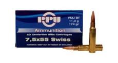 cartouche calibre 7,5x55 suisse, FMJ, marque PPU