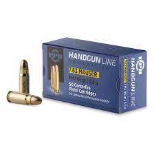 Cartouche calibre 7,63 Mauser, 85 grains FMJ, marque PPU