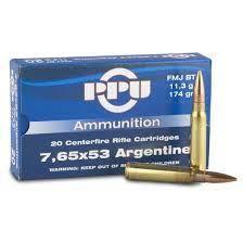 cart. 7,65x53 Mauser belge/argentin, FMJ, marque PPU