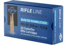 Cartouche calibre 8X56RS Mannlicher, 208 grains FMJ, marque PPU