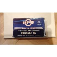 cartouche calibre 8x60S, soft point, marque PPU