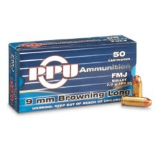 cartouches calibre 9mm Browning Long, FMJ 108 grains, marque PPU