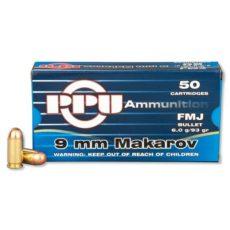 Cartouche calibre 9mm Makarov, 93 grains FMJ, marque PPU