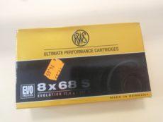 Cartouches de chasse marque RWS, calibre 8 x 68S