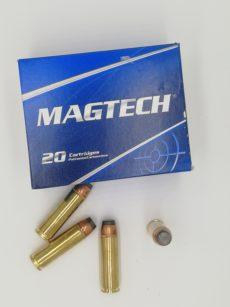 Cartouche calibre 500 Smith et Wesson Magnum, 400 grains SJSP, marque Magtech