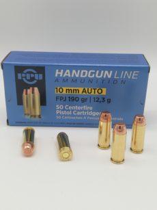 Cartouche calibre 10mm Automatic, 190 grains FPJ, marque PPU