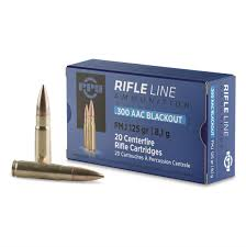 Cartouche calibre .300 AAC BLACKOUT, 125 grains FMJ BT, marque PPU