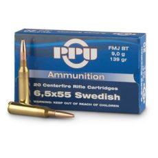 cartouche calibre 6,5x55 suédois, FMJ 139 grains, marque PPU