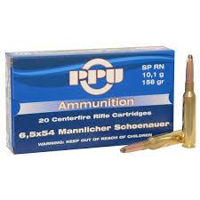 cartouche calibre 6,5x54 Mannlicher Schoenauer, Soft point 156 grains, marque PPU