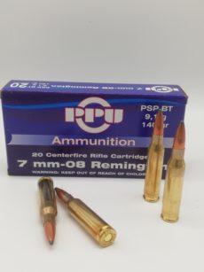 Cartouche calibre 7mm-08 Remington, 140 grains PSP BT, marque PPU