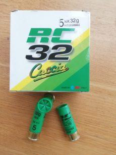 Cartouches marque RC, série CACCIA, calibre 12, T2, 32 grammes, plombs nickelés