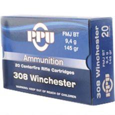 Cartouche calibre .308 winchester, 145 grains FMJ BT, marque PPU