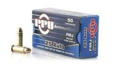 Cartouche calibre 6,35 Browning, 50 grains FMJ, marque PPU