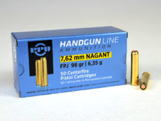 Cartouche calibre 7,62 Nagant, 98 grains FPJ, marque PPU